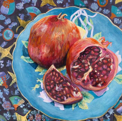 leuchtendes Stillleben mit Granatapfel türkis teller decke mit Muster zeitgenössische Malerei