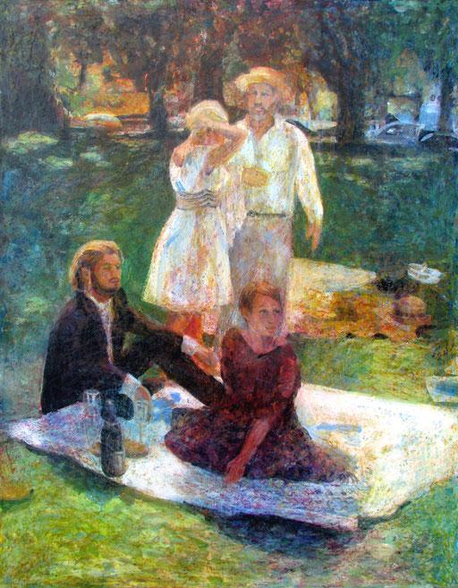 Frühstück im Grünen , Format 100 x 110, Eitempera/Öl-Lasur auf Canvas, 2014
