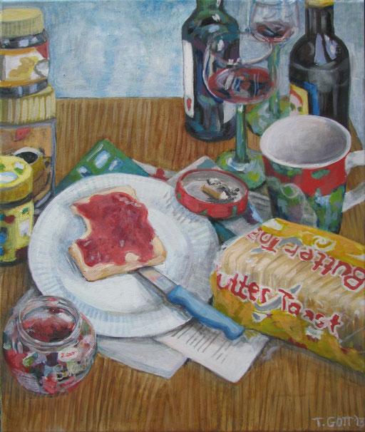 Serie: Tischlein deckt sich, Bildtitel: Im Alter von 20, Format 60 x 80 cm, Eitempera/Öl-Lasur auf Leinwand, 2013