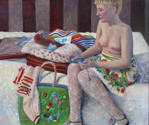 Die Reisende, Format 140 x 120 cm, Eitempera/Öl-Lasur auf Canvas, 2013