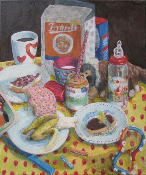 Serie: Tischlein deckt sich, Bildtitel: Im Alter von 35, Format 60 x 80 cm, Eitempera/Öl-Lasur auf Leinwand, 2013