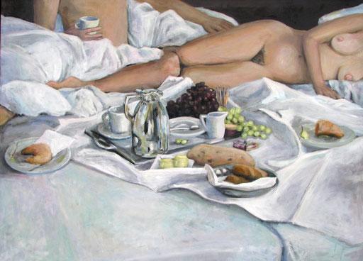Frühstück im Bett, Format 104 x 135 cm, Eitempera/Öl-Lasur auf Leinwand, 2014