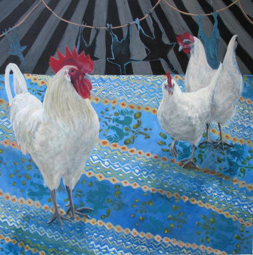 Hühner blau Gemälde Muster veganz malerei gemälde Bild