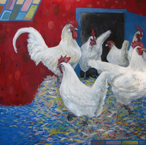 Chicken 1, Format 90 x 90 cm, Eitempera/Öl-Lasur auf Leinwand, 2013