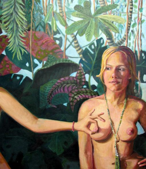 Eva vor Dschungeltapete, Öl auf Holz, 120 x 100 cm, 2016