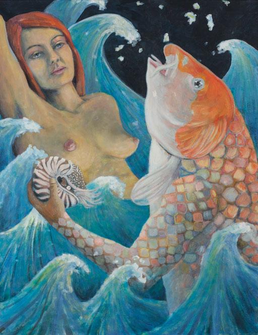 Meerjungfrau, nixe, Nautilus,Fisch, gemälde, Märchen, zeitgenössische Malerei