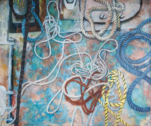 Werft, Seile, pontong, Flintwerft Hamburg, Industrie romantik, gegenständliche Malerei