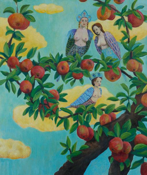 Harpyie Paradies Apfelbaum, Malerei, gemälde, gelbe wolken, Märchen, zeitgenössische Kunst