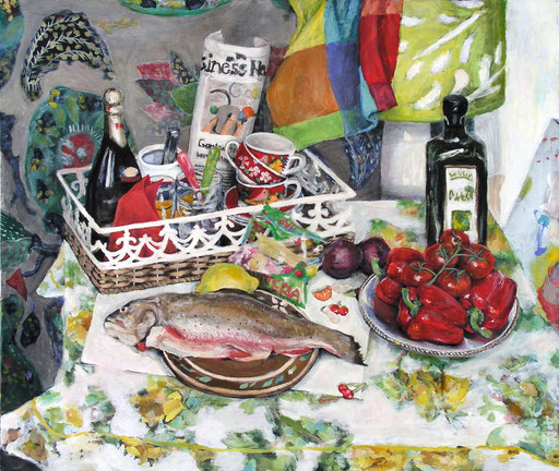 Tisch 1/07, Format 120 x 100 cm, Eitempera/Öl-Lasur auf Canvas, 2007