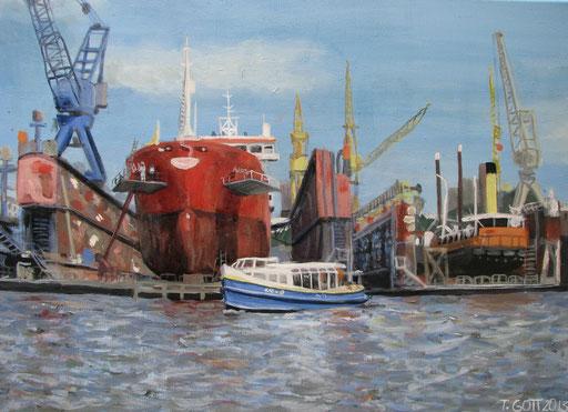 Hafenrundfahrt 2, Format 50 x 70 cm, Eitempera/Öl-Lasur auf Leinwand 2013