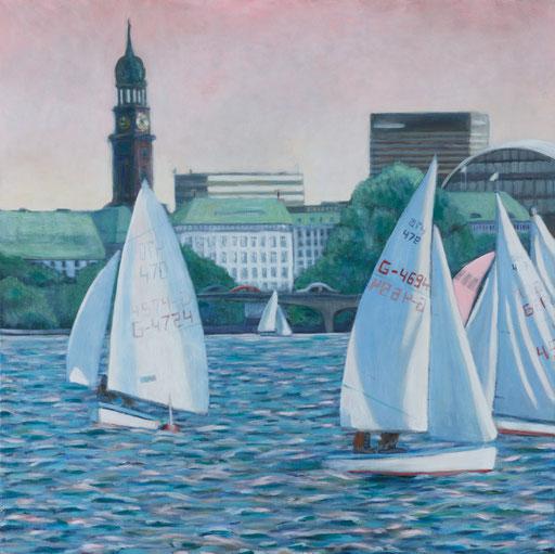 Alster Hamburg Gemälde Segelboote, abendrot Malerei Hamburgbild