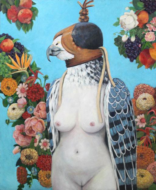 """Harpyie"",  Falke - Früchte - neo barock - Methapher - Frauenrechte - Gemälde - Granatapfel - Falknerhaube"