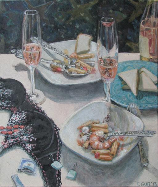 Serie: Tischlein deckt sich, Bildtitel: Im Alter von 27, Format 60 x 80 cm, Eitempera/Öl-Lasur auf Leinwand, 2013