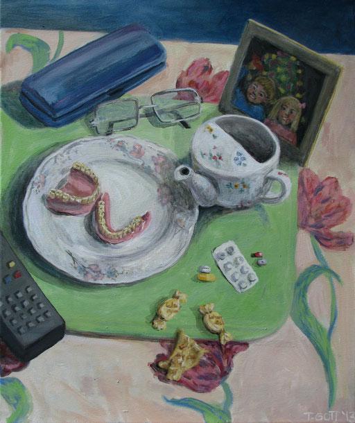 Serie: Tischlein deckt sich, Bildtitel: Im Alter von ??, Format 60 x 80 cm, Eitempera/Öl-Lasur auf Leinwand, 2013