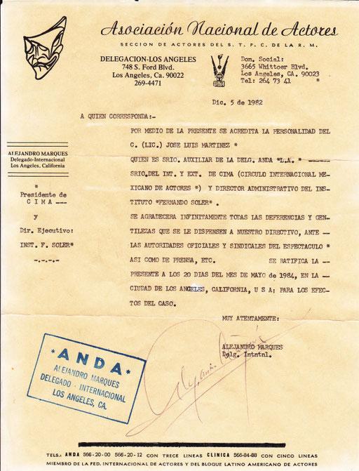 """DELEGADO INTERNACIONAL """"A.N.D.A"""". MEXICO"""