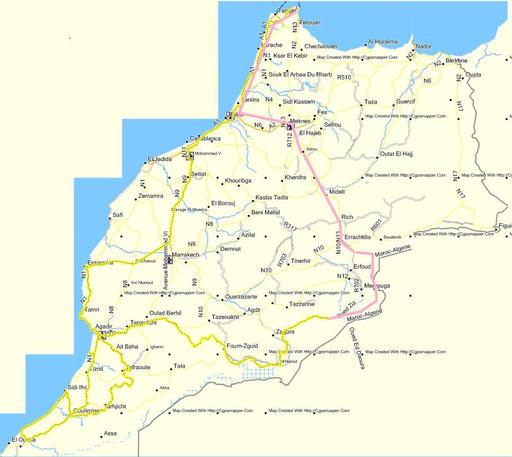 unsere Route (gelb) / vom Anfang bis Ramlia nur skizziert=rosa