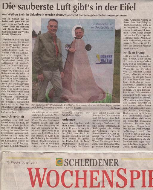 Quelle: Schleidener Wochenspiegel 23. Kw vom 07. Juni 2017