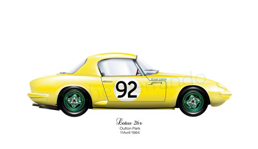 Jim Clark - Lotus Elan - Art automobile automotive painting - automobilia