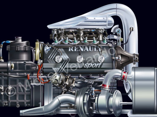 Moteur engine Renault EF15B Senna art illustration dessin F1 Turbo