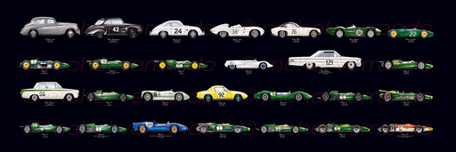 jim clark - winners cars Lotus F1  -painting automotive - art automobile
