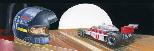 James Hunt - michel verrando - art automobile - peinture paint