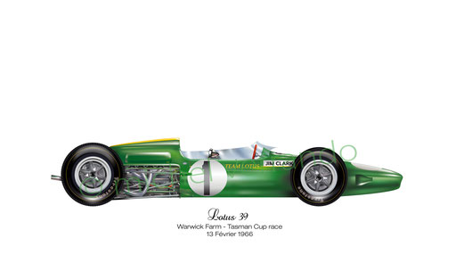 Jim Clark - Lotus 39 - art automobile - automotive art - michel verrando