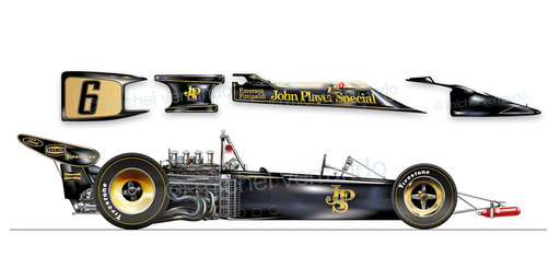 art auto painting f1 drawing lotus 72  jps fittipaldi  ronnie peterson cosworth verrando