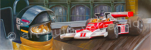 James Hunt - art auto - F1 painting - illustration formula 1 -