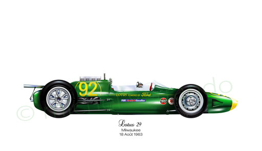 automotive painting - art automobile - verrando - lotus 29 - indianapolis - jim clark