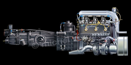 Moteur engine Renault EF4B Senna art illustration dessin F1 Turbo De Angelis