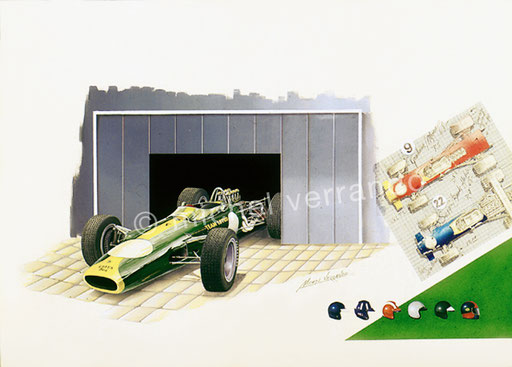 jim clark painting - art - michel verrando- cosworth -