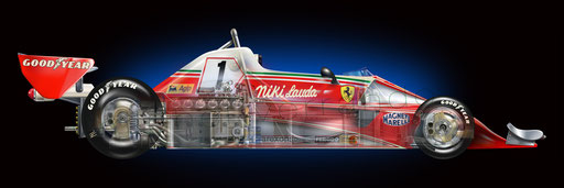 Niki Lauda - Blue print Ferrari - automotive art