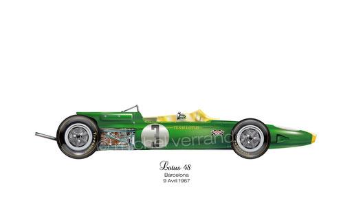 Jim Clark winner. Lotus 48. Barcelona. 9 Avril 1967