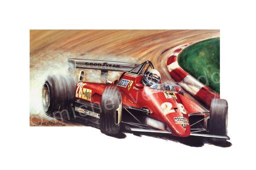 Ferrari 126c - art - painting - Pironi - Peinture