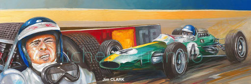 Jim Clark Monaco 1966 automotive art auto verrando painting