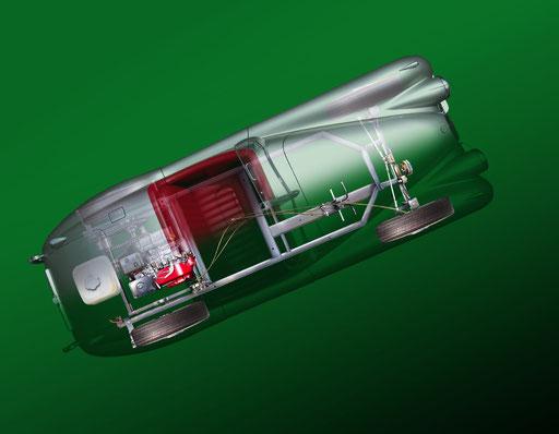"""Jaguar XK120 """"Violetta"""" llustration réalisée sur logiciel Photoshop"""