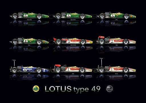 Lotus 49  Automotive art Michel Verrando Clive Chapman