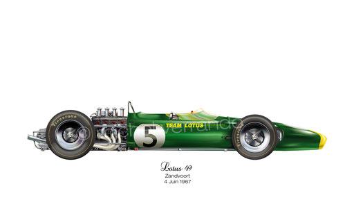 Jim Clark winner. Lotus 49. Zandvoort. 6 Avril 1967