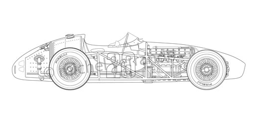 Maserati 250F  blueprint drawing Stirling Moss
