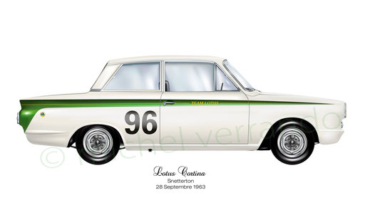 automotive painting - art automobile - verrando - lotus cortina snetterton - jim clark