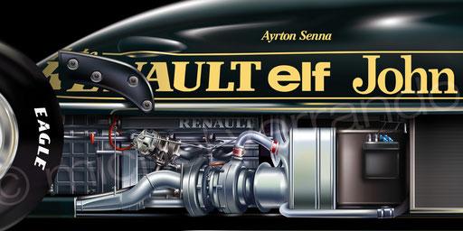 Ayrton Senna - Lotus 97T - Estoril - Art - Painting -