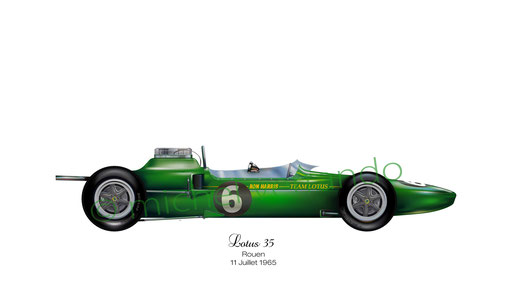 Jim Clark winner. Lotus 35. Rouen 11 Juillet 1965