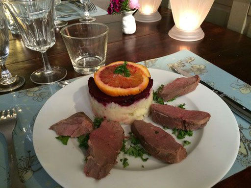 canard, orange, riz et chou braisé à la Table d'hôtes
