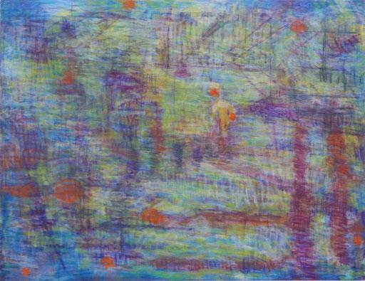 「雨を凌ぐ」  キャンバスに油彩   146×114㎝(F80号)