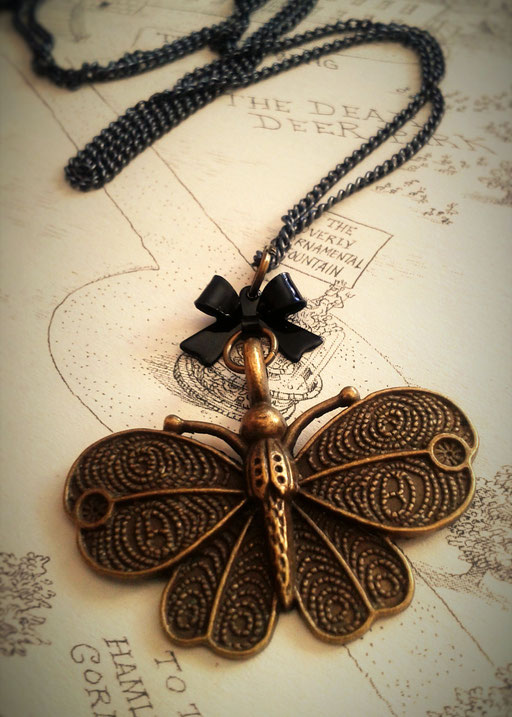 Steampunk Butterfly Necklace with Black Bow