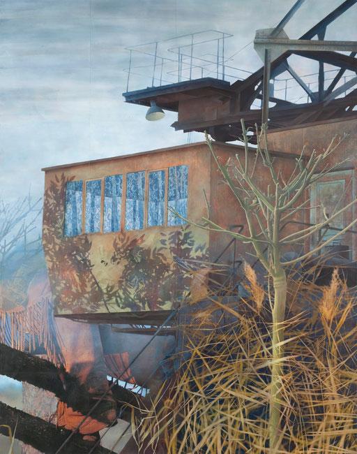 Ausguck, Acryl und Sprühlack auf Papier, 214 x 168 cm, 2009