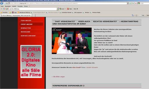 Meine Idee & Bilder auf der Kino Seite des Gloria Kinos in Dillenburg!