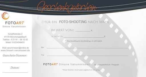 Geschenkgutschein für ein Fotoshooting von FOTOART Simone Vanummissen