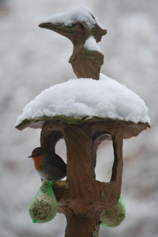 Futterhaus im Winter