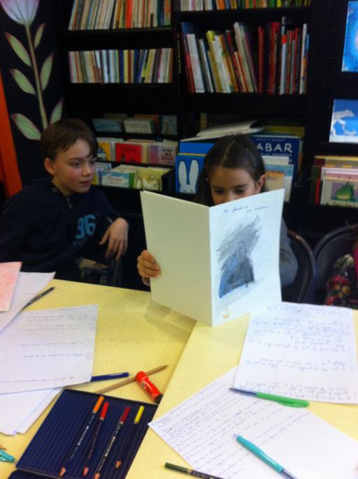 Souvenirs des deux ateliers à la librairie le Ratconteur/ à livre ouvert février 2014.